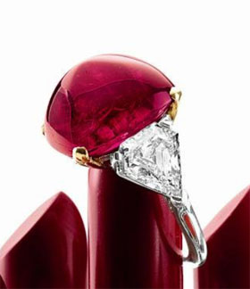 Burmese ruby (27.67-ct) and diamond ring from Bulgari (Hong kong auction at Sotheby's)