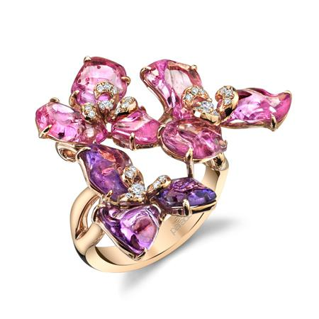 Band in 18k rose gold with 11.15 cts. t.w. tumbled sapphires and 0.14 ct. t.w. diamonds,